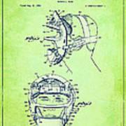 Baseball Mask Patent Green Us2627602 A Art Print