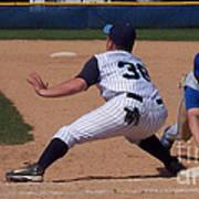 Baseball Pick Off Attempt Art Print