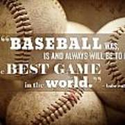 Baseball Print With Babe Ruth Quotation Art Print