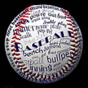 Baseball Terms Typography 1 Art Print