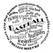 Baseball Terms Typography Black And White Art Print