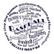 Baseball Terms Typography Blue On White Art Print