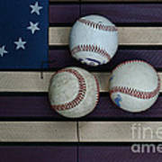 Baseballs On American Flag Folkart Art Print