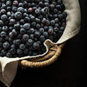 Basket Full Fresh Picked Blueberries Art Print by Edward Fielding