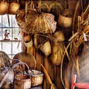 Basket Maker - I Like Weaving Art Print by Mike Savad