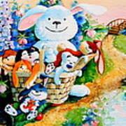 Basket Of Bunnies Art Print