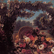Basket Of Flowers In A Park Art Print by Eugene Delacroix