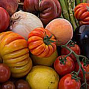 Basket Of Fruits And Vegetables Art Print