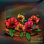 Basket Of Hibiscus Flowers Art Print