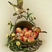 Basket Of Peaches And Flicker Art Print by Mary Mcgrath