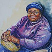 Basket Weaver In Blue Hat Art Print by Sharon Sorrels