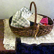 Basket With Cloth And Measuring Tape Art Print
