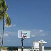 Basketball Goal On The Beach Art Print