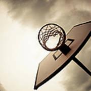 Basketball Hoop, Dramatic Sky Art Print