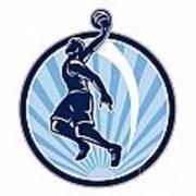 Basketball Player Dunk Ball Retro Art Print