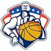 Basketball Player Holding Ball Crest Retro Art Print by Aloysius Patrimonio