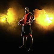 Basketball Player On Smoky Yellow Art Print