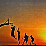 Basketball Sunrise Art Print