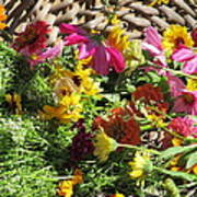 Basketful Of Flowers Art Print