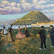 Basque Celebration. Dance At El Antiguo San Sebastian Art Print