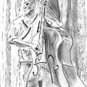 Bass Fiddle Blues Art Print by Elizabeth Briggs