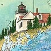 Bass Harbor Lighthouse Me Nautical Chart Map Art Cathy Peek Art Print