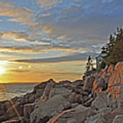 Bass Harbor Lighthouse Sunset Landscape Art Print