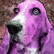 Basset Hound - Pop Art Pink Art Print