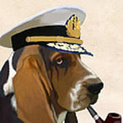 Basset Hound Seadog Art Print