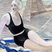 Bather In A Black Swimsuit Art Print