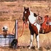 Bathing Cowgirl Art Print