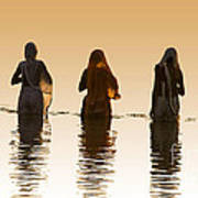 Bathing In The Holy River 2 Art Print