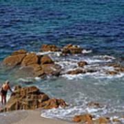 Bathing In The Sea - La Coruna Art Print