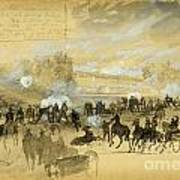 Battle At White Oak Swamp Bridge Art Print