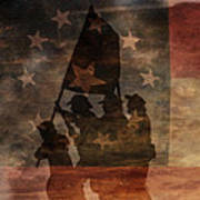 Battle Flag Silhouette 1st Of Three Art Print by Randy Steele
