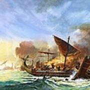 Battle Of Salamis Art Print