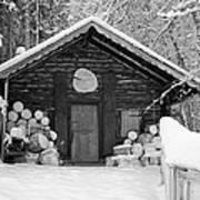 Bavarian Hut In Snow Art Print