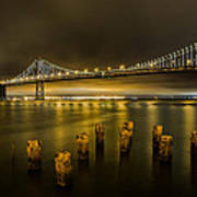 Bay Bridge And Clouds At Night Art Print