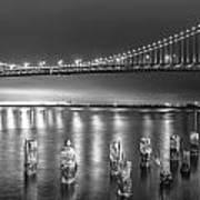 Bay Bridge Black And White Art Print