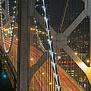 Bay Bridge Night Colors Art Print