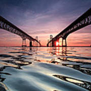 Bay Bridge Reflections Print by Jennifer Casey