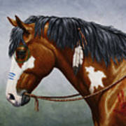 Bay Native American War Horse Art Print