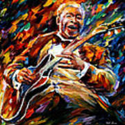Bb King - Palette Knife Oil Painting On Canvas By Leonid Afremov Art Print