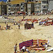 Beach At St Ives Cornwall Uk 1990 Art Print by David Davies