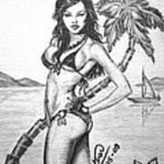 Beach Babe Model Art Print