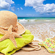 Beach Bag With Sun Hat Art Print