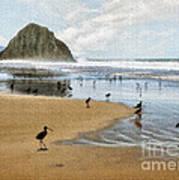 Beach Birds Impasto Art Print
