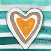 Beach Glass Hearts Art Print