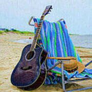 Beach Guitar Art Print