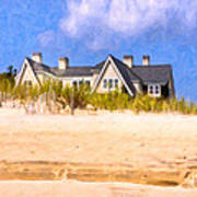 Beach House In The Hamptons Art Print by Mark E Tisdale
